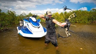 BowFishing on SuperCharged Jetski In A Mangrove Forrest!! (1ft deep) | Jiggin' With Jordan