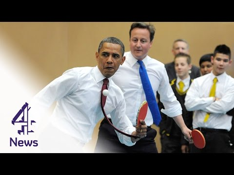 David Cameron & Barack Obama play table tennis | Channel 4 News