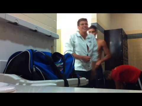 What swimmers do in the locker room