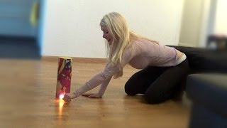 Blonde Girl Lights Firecracker in the House (Epic FAIL)