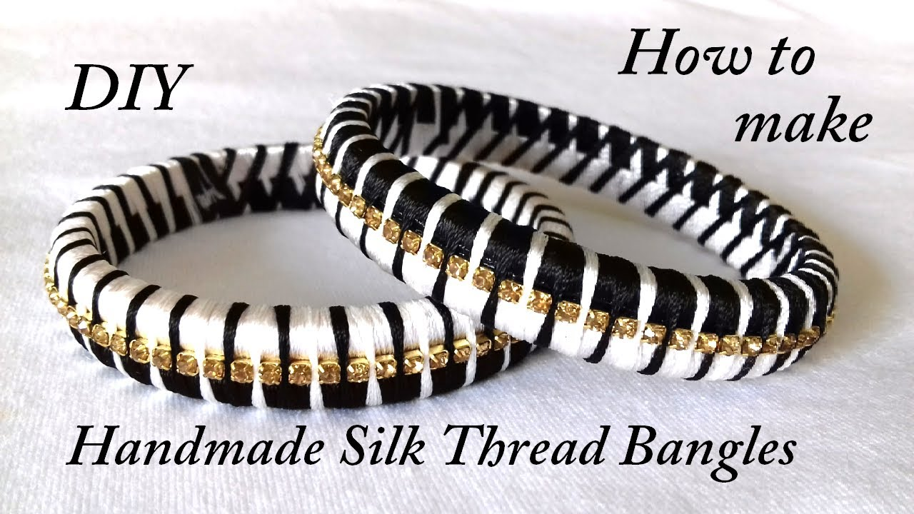 Diy How To Make Designer Silk Thread Bangles At Home Two Colour Bangles Youtube