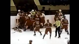 The fight between Soviet and Canadian youth in the hockey tour…