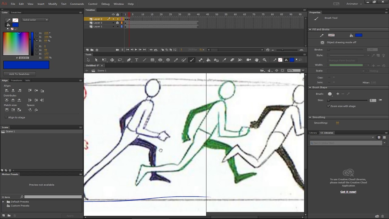 Adobe Animate - Combining Frame by Frame Run Cycle and Tweens to ...