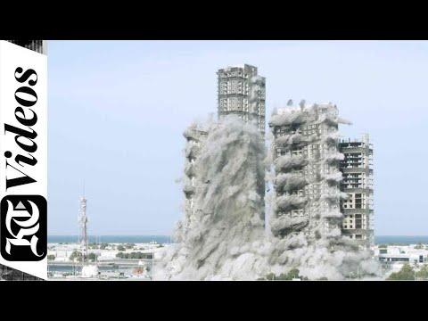 Demolition of Mina Plaza tower in Abu Dhabi