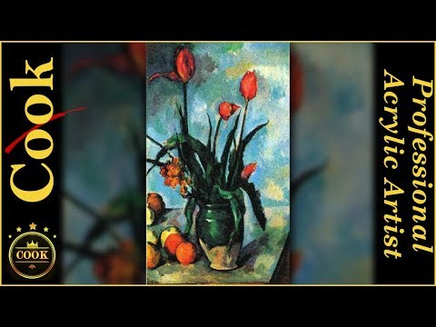 How to Paint Tulips in a Vase by Paul Cezanne for Beginner Acrylic Artists
