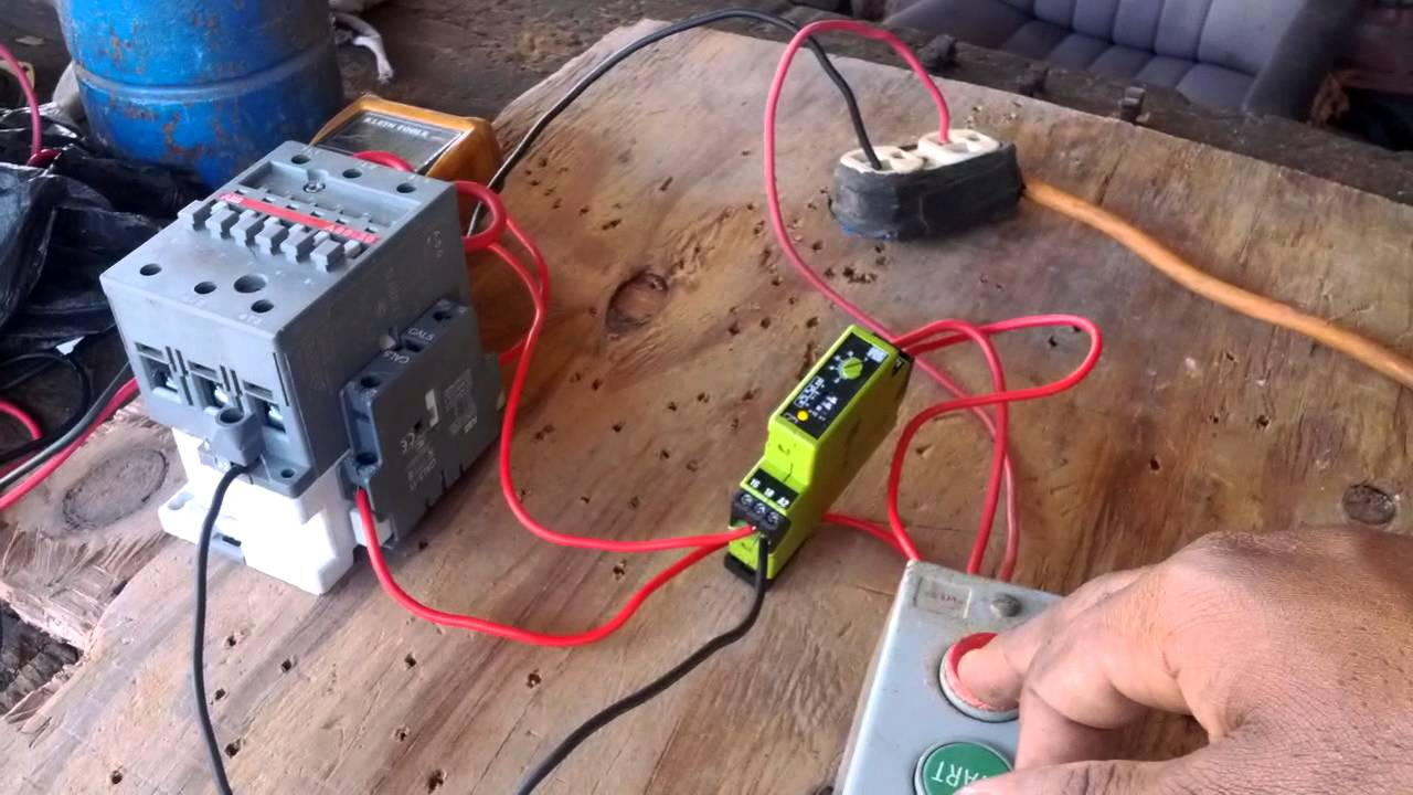 maxresdefault how to wire a timer in a control circuit youtube time delay transfer switch wiring diagram at gsmx.co