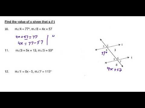 Worksheet 3 Parallel And Transveral Lines Questions 10 12 Youtube