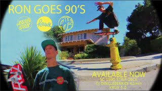 Ron Whaley relives the glorious time in skating that was the 1990's. Haggard footage, harsh editing, cut off pants, big shirts and of course the proper 90's skateboard equipment; a football shaped deck and tiny wheels. All filmed in one day... just like the good ol' days. Deck: Santa Cruz 1990 Strip. Trucks: Krux 5.0 Silver. Wheels: OJ 42mm Dingle Berries.