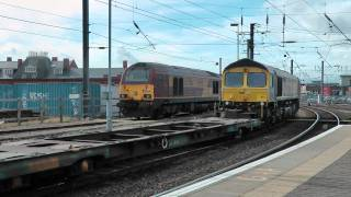 66304 4M16 diverted Grangemouth to Daventry at Newcastle
