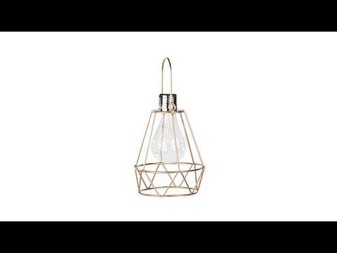 Smart Solar Geometric Lantern w/Retro Edison LED Bulb