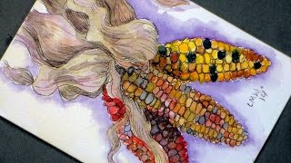 How to Paint Decorative Corn in Watercolor/Pen & Ink-Craft for Thanksgiving