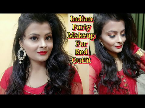 Indian Party Makeup For Red Outfit   Golden Cut Crease Eye Makeup With Bold Red Lips   Glowy Makeup