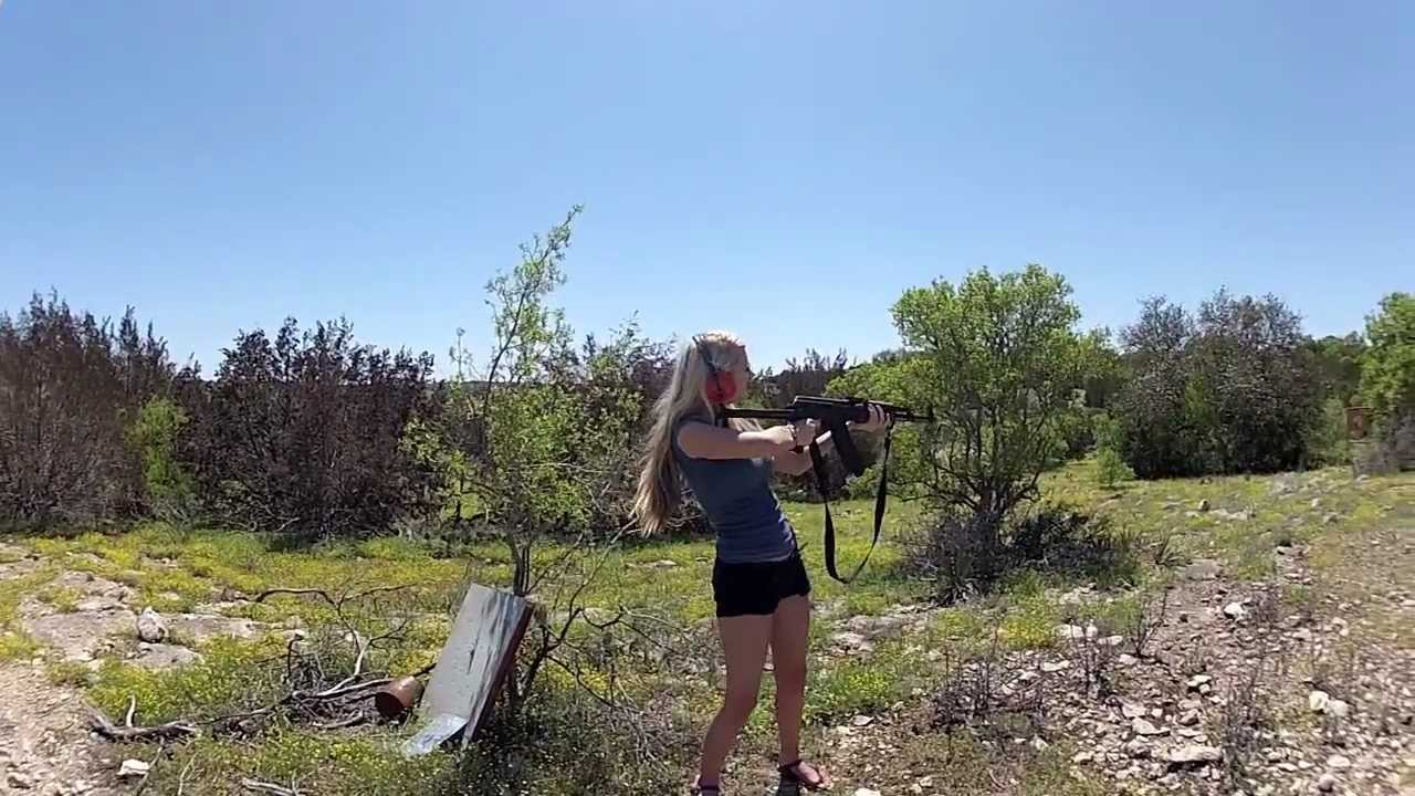Hot Chick Shoots AK-47 Assault Rifle - YouTube