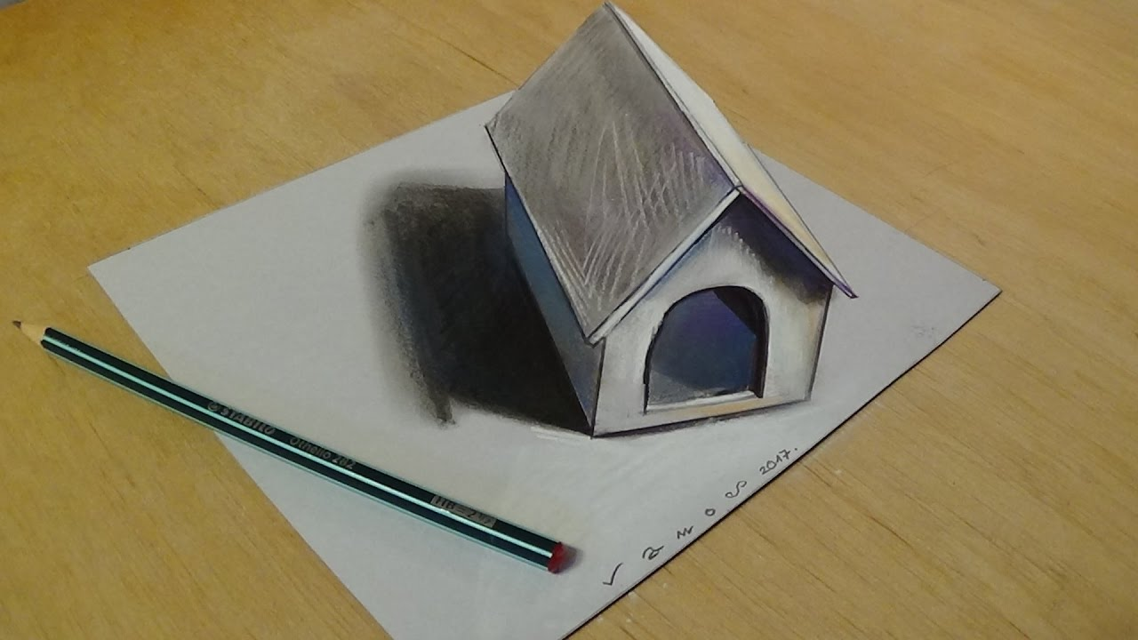 3d Art For Kids Trick Art Drawing 3d Tiny Dog House On