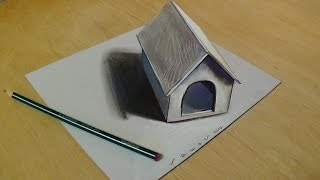 3D Art for Kids -Trick Art Drawing 3D Tiny Dog House on Paper