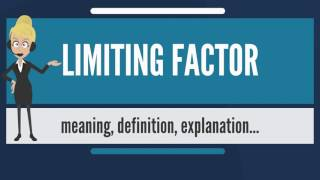 What is LIMITING FACTOR? What does LIMITING FACTOR mean? LIMITING FACTOR meaning & explanation