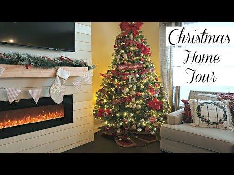 CHRISTMAS DECOR HOME TOUR 2018 + DIY FIREPLACE & DIY BARN DOOR SNEAK PEEK thumbnail