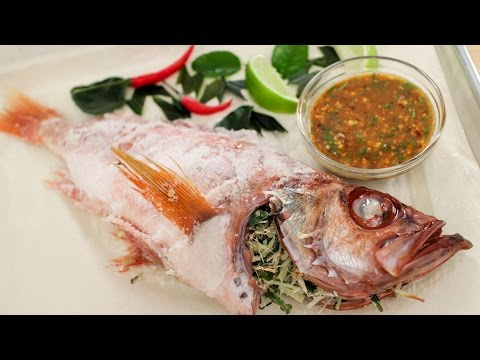 Salt Crusted Fish Recipe ปลาเผาเกลือ - Hot Thai Kitchen