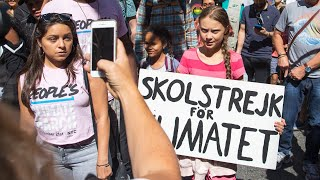 Watch live: Greta Thunberg leads NY protest for climate change action