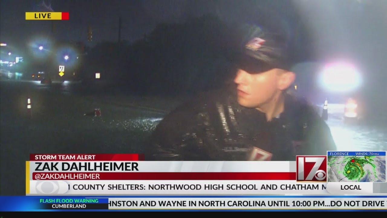 Tree just misses CBS 17 reporter in Wayne County