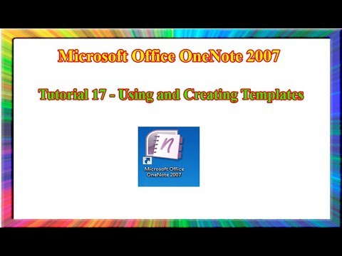 Microsoft OneNote 2007 How To Use And Create Page Templates In