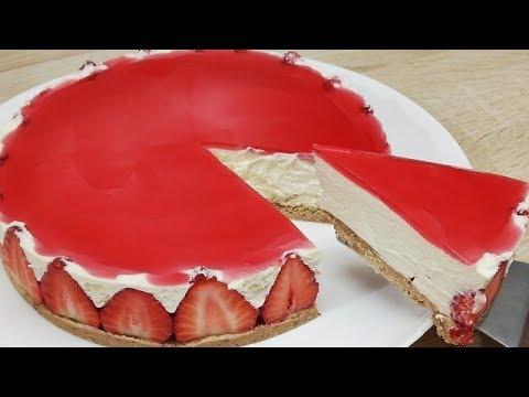 gÂteau-sans-cuisson-a-la-fraise-trop-facile-(cuisine-rapide)