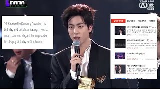 BTS Jin's speech at 2019 MAMA trended& praised by Knetz after calling out sajaegi/chart manipulation