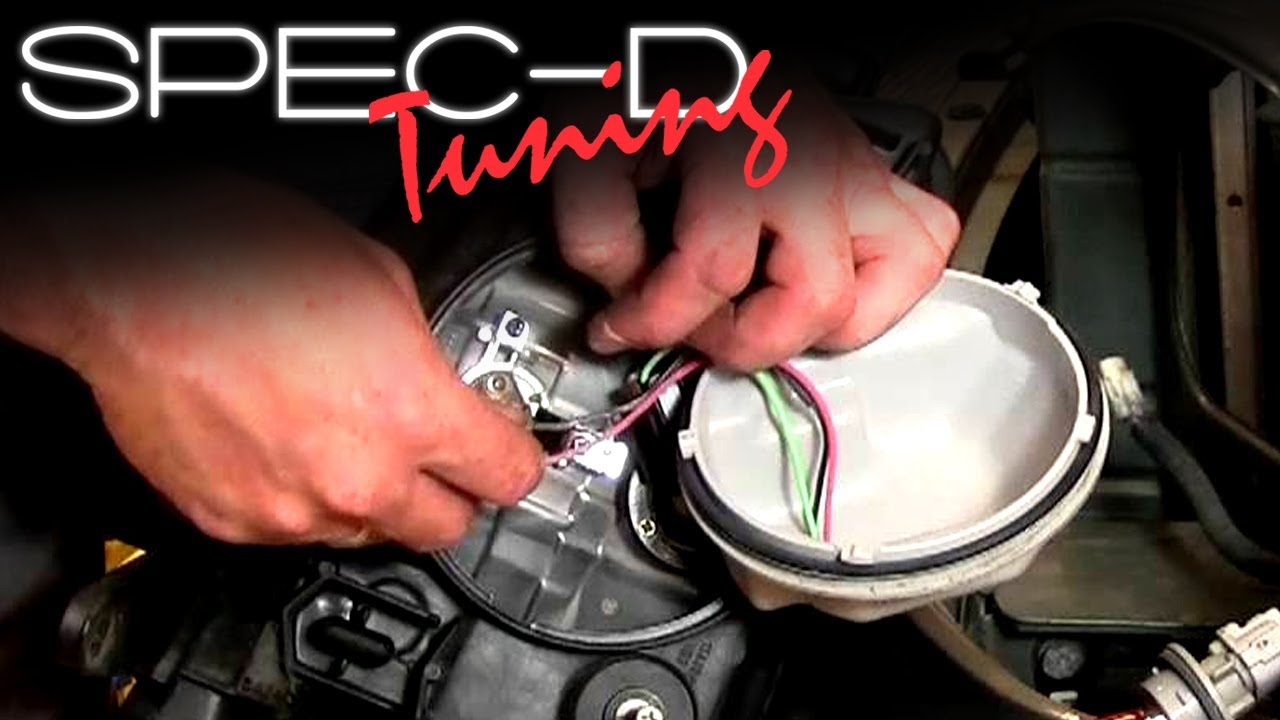 medium resolution of specdtuning installation video how to replace light bulbs on tm projector head lights youtube