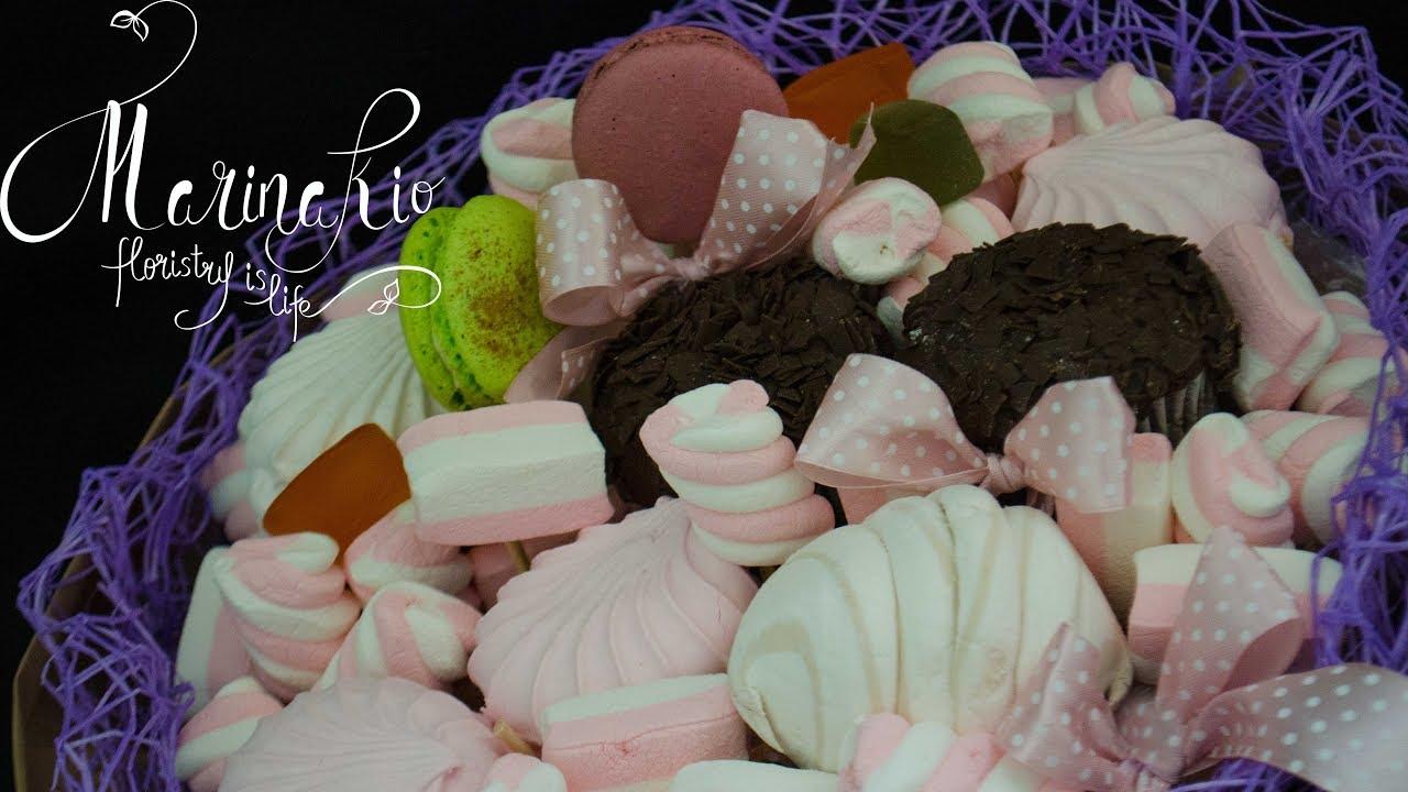 Букеты из конфет печенья зефира