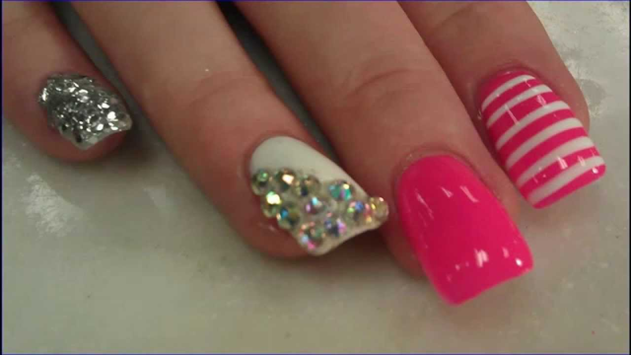 tutorial make cute acrylic nails french tip - youtube