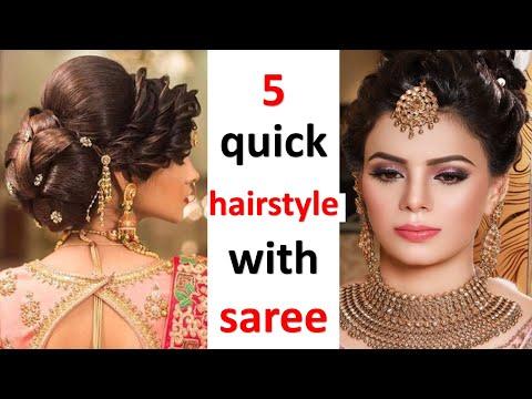 5 quick & amazing hairstyles for saree | wedding hairstyle | party hairstyle | hairstyle for girls