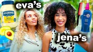 WE SWAPPED CURLY HAIR ROUTINES... | MyLifeAsEva & Jena Frumes