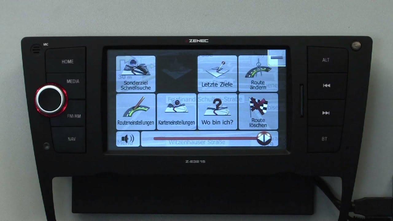 die navigation vom zenec z e3215 f r bmw 3er kurz erkl rt. Black Bedroom Furniture Sets. Home Design Ideas