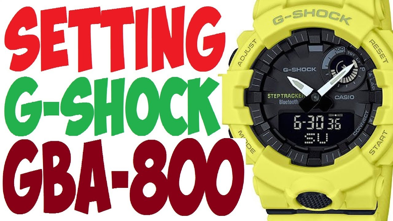 Casio G-Shock GBA-800 STEP TRACKER manual 5554 to set time - YouTube 5b31f3d5131