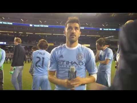 David Villa thanks the New York City FC fans