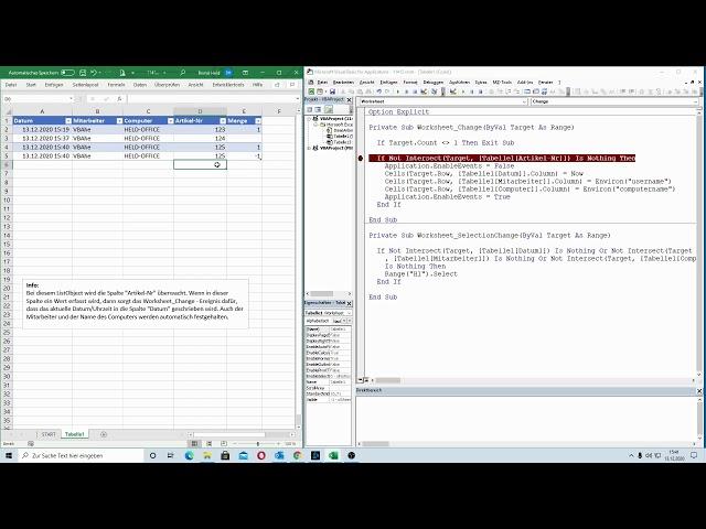 213: Excel-VBA: Wie von Zauberhand: Automatisch auf Veränderungen im ListObject reagieren