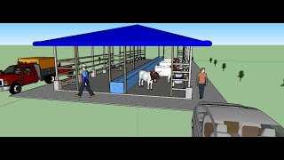 How to make Cow Dairy Farm (30x10m) in Sketchup
