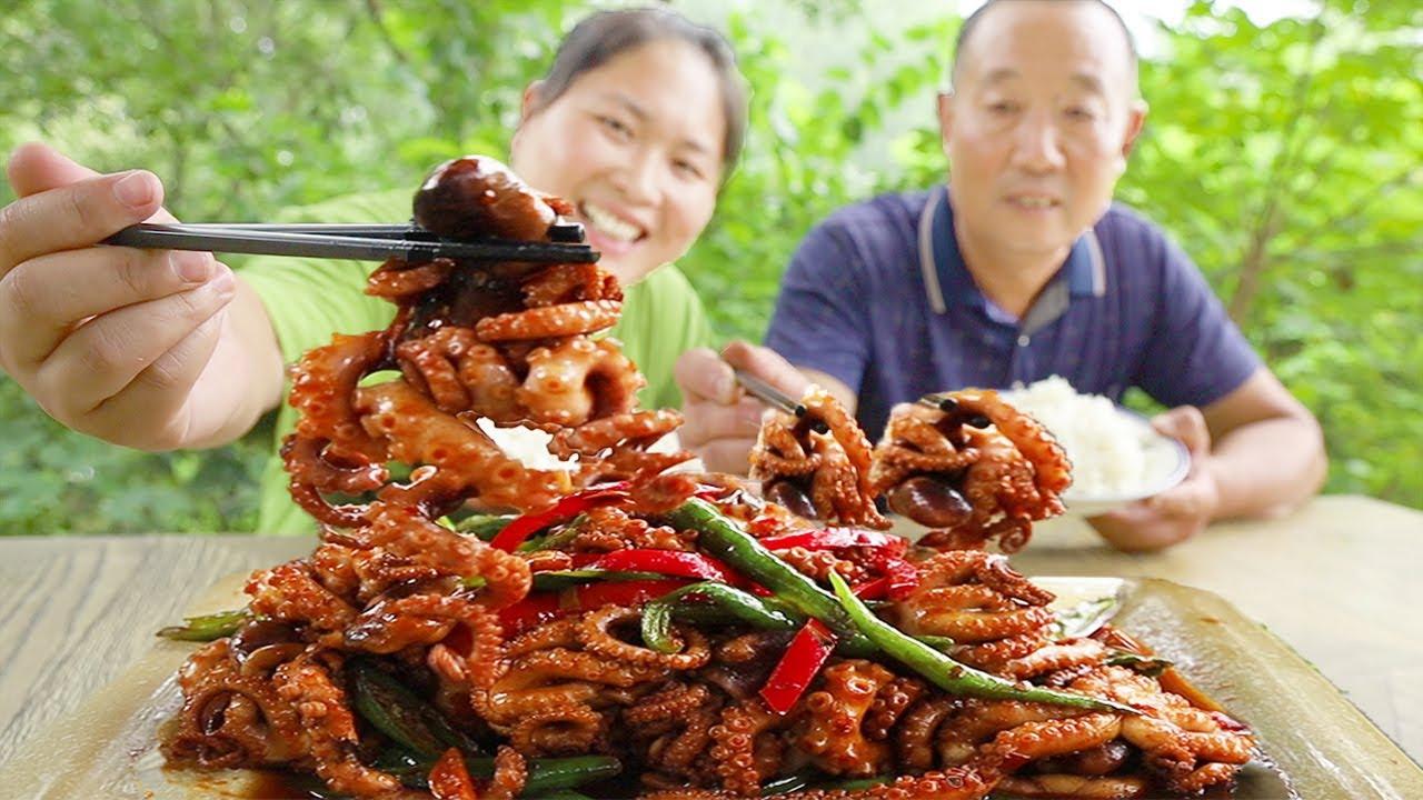 120买3斤八爪鱼爆炒,香辣入味,一咬嘎嘣脆,老爸1口1条吃过瘾【陈说美食】