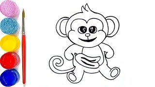 DRAWING AND COLORING CUTE MONKEY FOR KIDS