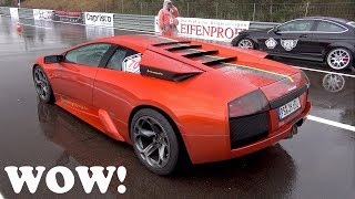 Lamborghini Murcielago 6.0 V12 Dangerous Drag Races in Heavy Rain!