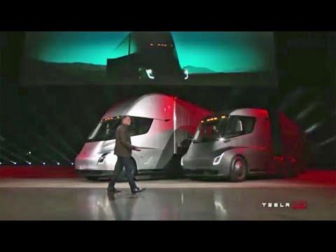 Raw Video Tesla Unveils Electric Semi Tractor Trailer Truck