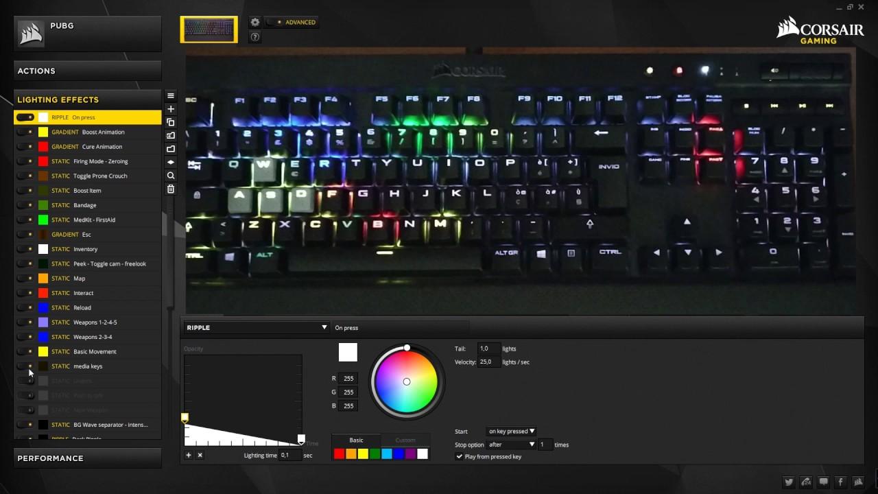PUBG profile for K70 LUX RGB