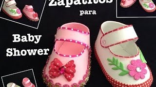 ZAPATITOS DE NIÑA PARA BABY SHOWER CON FOAMY