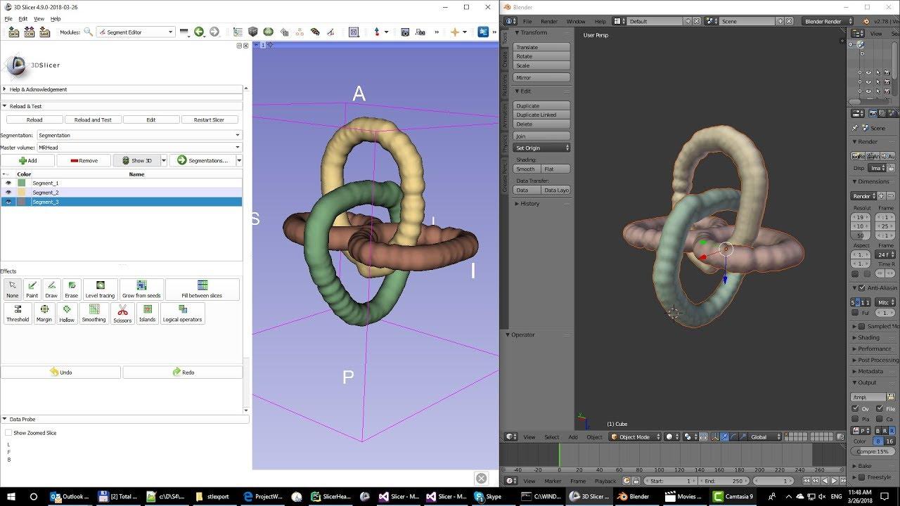 Export Slicer image segmentation to STL or OBJ file