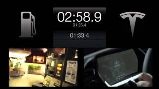 Tesla cumplió: 90 segundos para cambiar baterías.