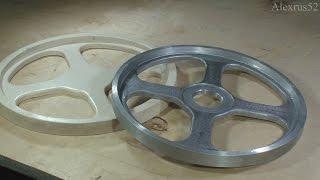 """Литьё алюминия (изготовление колеса """"шкива"""" ленточной пилы). Making band saw wheels."""