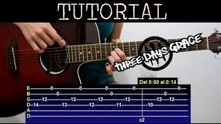 Cómo tocar Pain de Three days grace (Tutorial de guitarra) / How to play