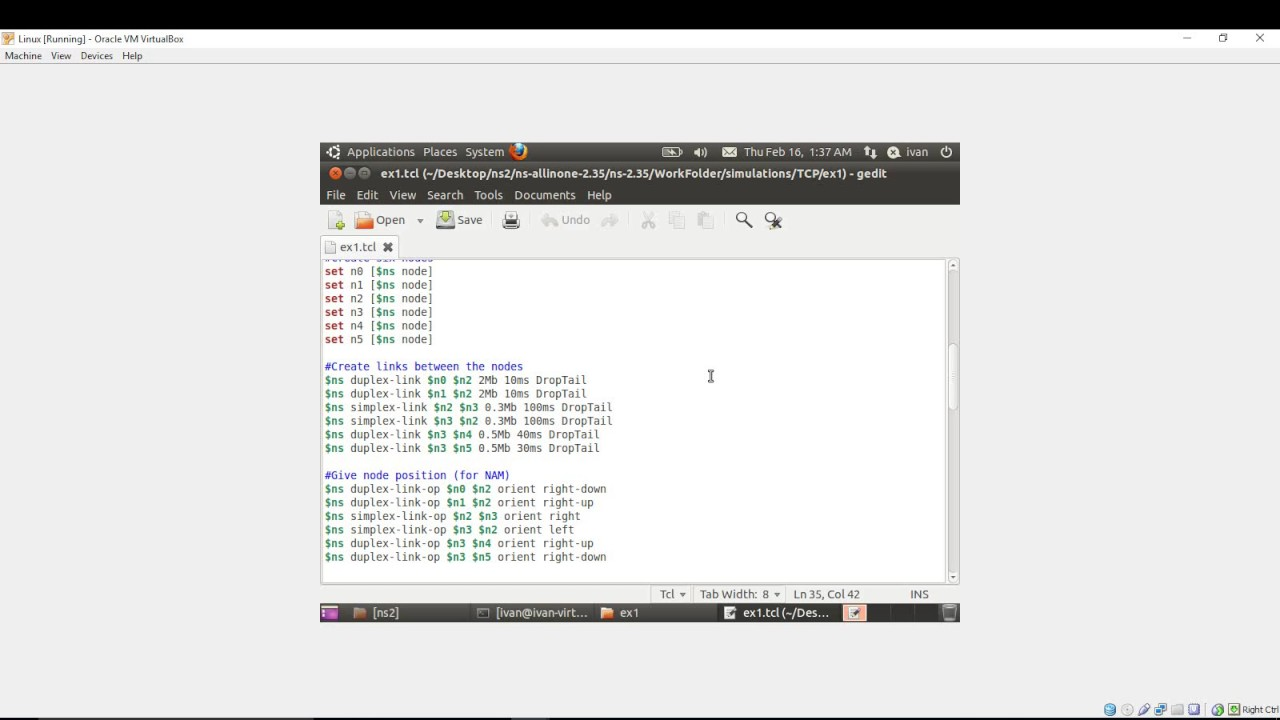 NS2 Tutorial: Run your first basic wired simulation scenario script in  ns2 35 (ns2)