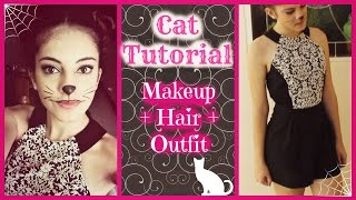 Cat Halloween Tutorial || Makeup + Hair + Outfit Thumbnail