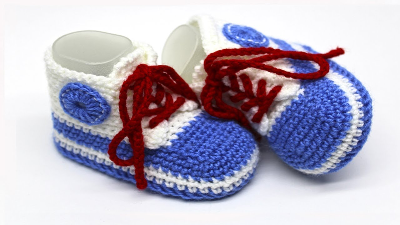 9fb4d42e3fc DIY crochet baby sneakers for beginners  Vasilisa - YouTube